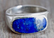 Load image into Gallery viewer, Lapis Lazuli Mens Silver Ring