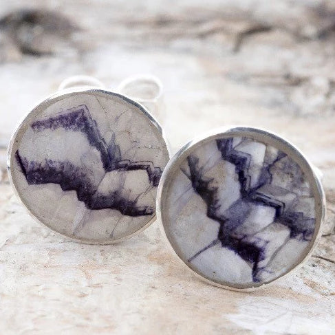 Blue John Round Stud Earrings in Sterling Silver by Andrew Thomson