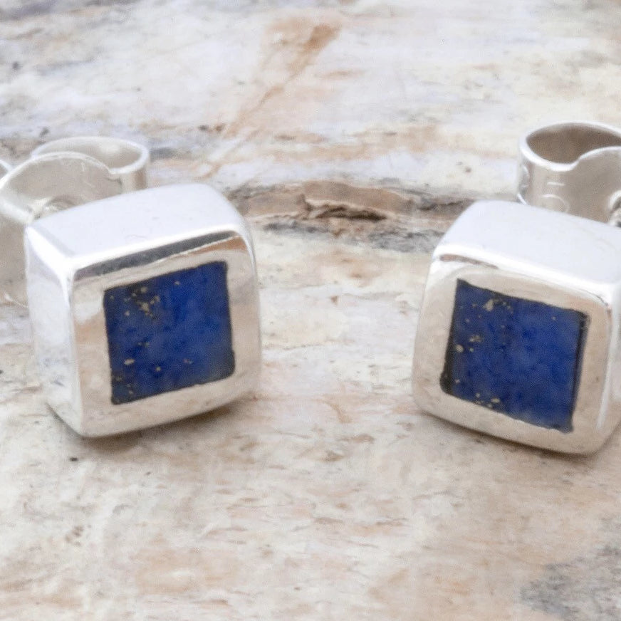 Lapis Lazuli Square Stud Earrings