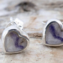 Load image into Gallery viewer, Blue John Heart Earrings
