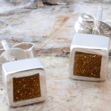 Load image into Gallery viewer, Goldstone Square Stud Earrings