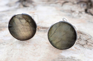 Labradorite Stud Earrings 7mm Round