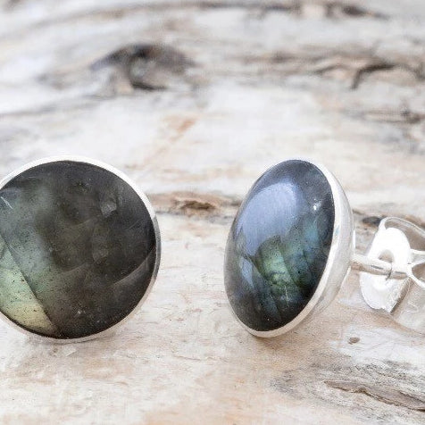 Round Labradorite Stud Earrings 9mm