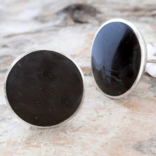 Whitby Jet Earrings 7mm Round