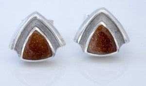 Goldstone Triangle Stud Earrings
