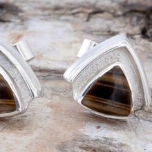 Load image into Gallery viewer, Tiger Eye Triangle Stud Earrings