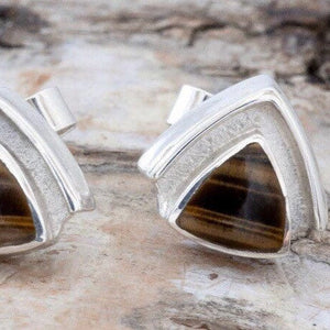 Tiger Eye Triangle Stud Earrings