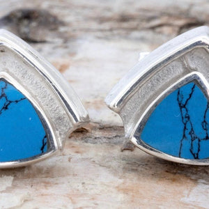 Turquoise Triangle Silver Stud Earrings