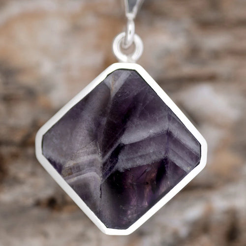 Amethyst Pendant with Whitby Jet Reversible