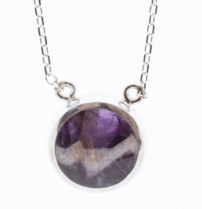 Amethyst Lace & Jet Double Sided Round Pendant