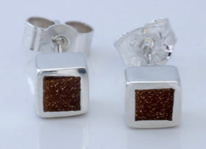 Goldstone Square Stud Earrings