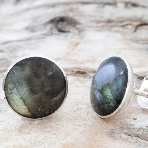 Round Labradorite Stud Earrings 7mm