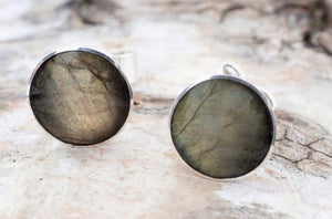 Labradorite Stud Earrings 9mm Round