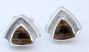 Tiger Eye Triangle Silver Stud Earrings