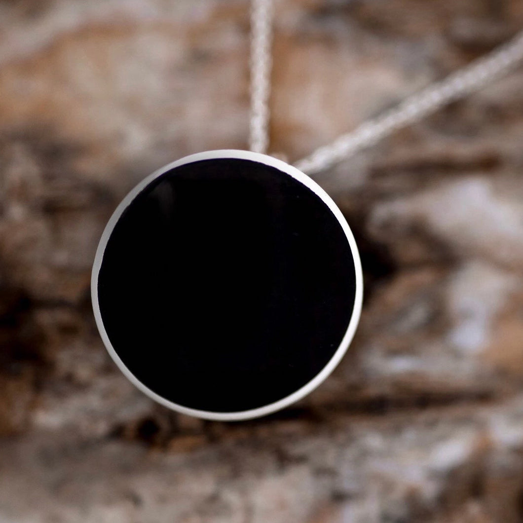 Whitby Jet Round Pendant 12mm