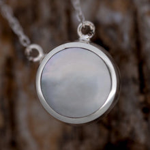 Load image into Gallery viewer, Amethyst and Mother of Pearl Double Sided Round Pendant