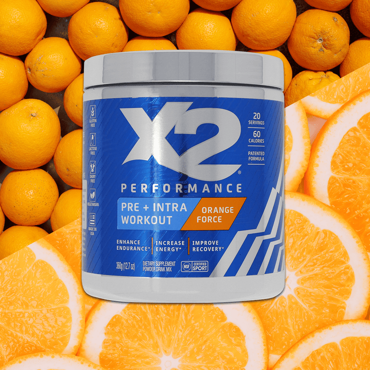 SAVE 30% X2 Pre-Workout + Intra-Workout Powder - Orange Force