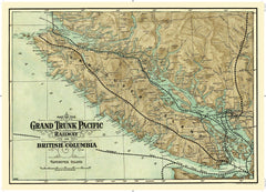 Cartolina Vintage Map - Grand Trunk Pacific Railway on Vancouver Island