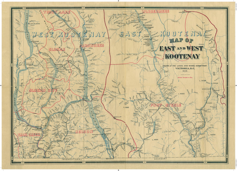 Cartolina Vintage Map of East and West Kootenay, 1909