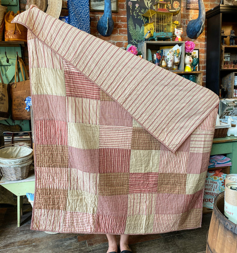 Vintage Ticking Patchwork Quilt - Red & Cream Stripes
