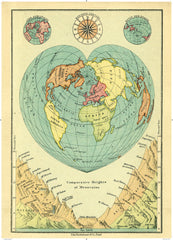 Cartolina Vintage Map - Comparative Heights of Mountains around the world