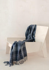 Recycled Wool Knee Blanket in Flint Grey Tartan