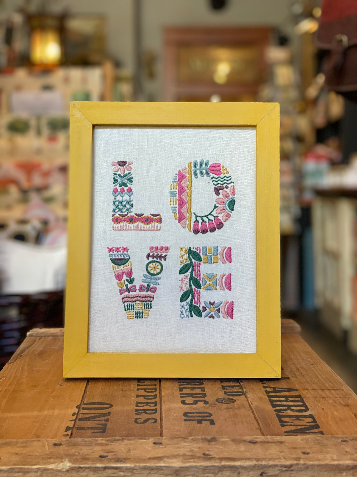 Framed and Embroidered LOVE Art