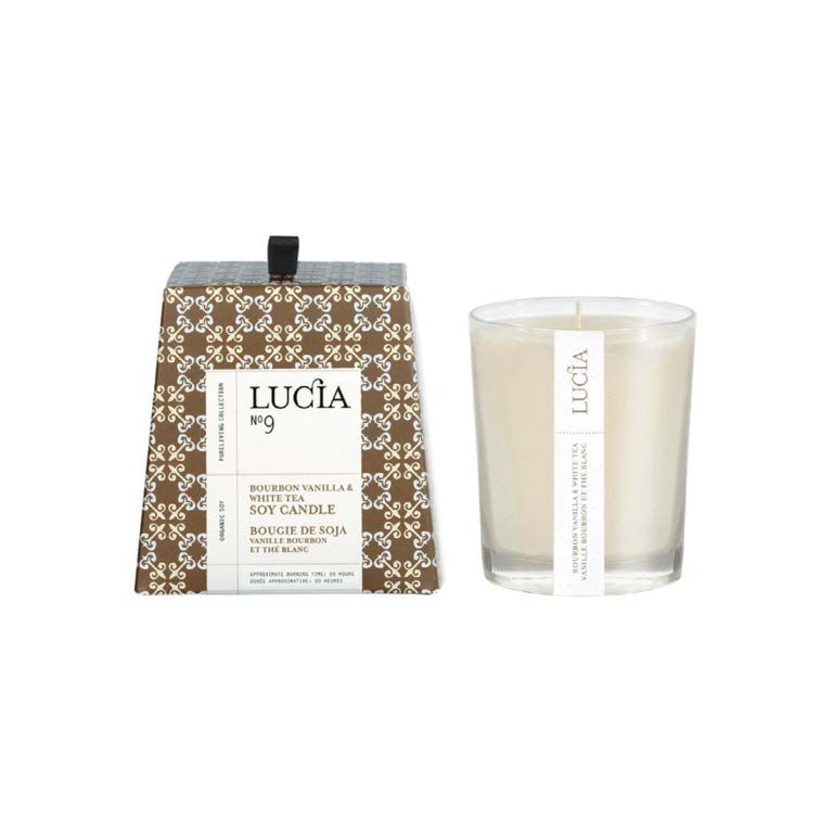 Lucia Candle Organic Soy No. 9 Bourbon Vanilla and White Tea