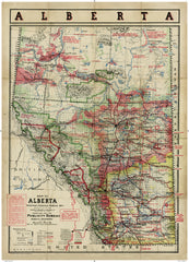 Cartolina Vintage Map of Alberta