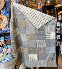 Vintage Ticking Patchwork Quilt - Charcoal & Cream Stripes
