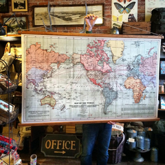 Canvas world wall map.