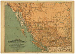Cartolina Vintage Map of the Province of British Columbia, 1893