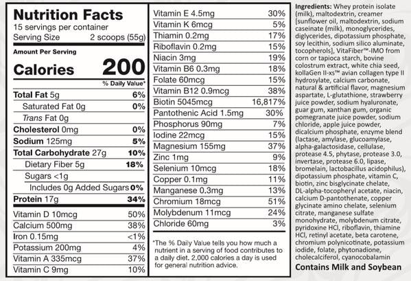 SureMeal Beauty Unsweetened Option Nutrition Label
