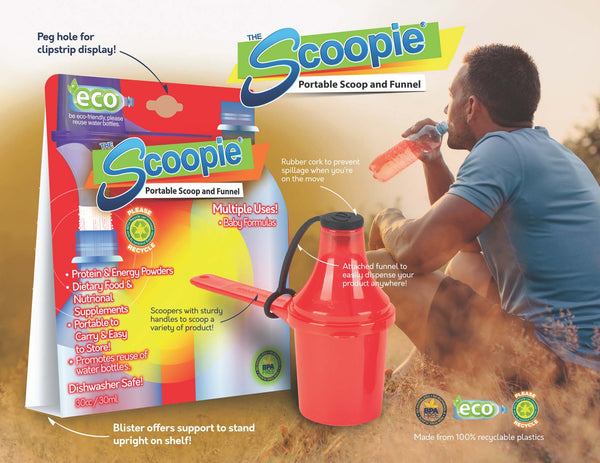 Eco Friendly Scoop with Funnel Powder Supplement Dispenser for Water Bottles The Scoopie