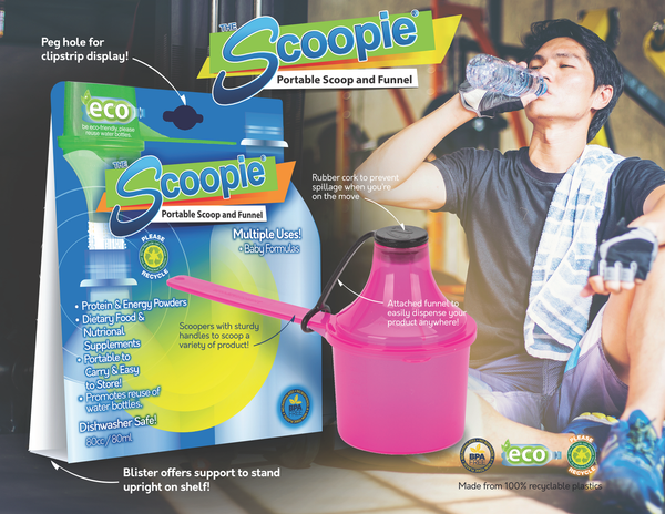 Eco Friendly Scoop with Funnel The Scoopie for Powder Supplements