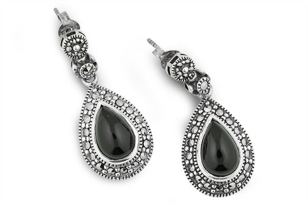 STERLING SILVER TEARDROP, BLACK ONYX AND MARCASITE EARRING
