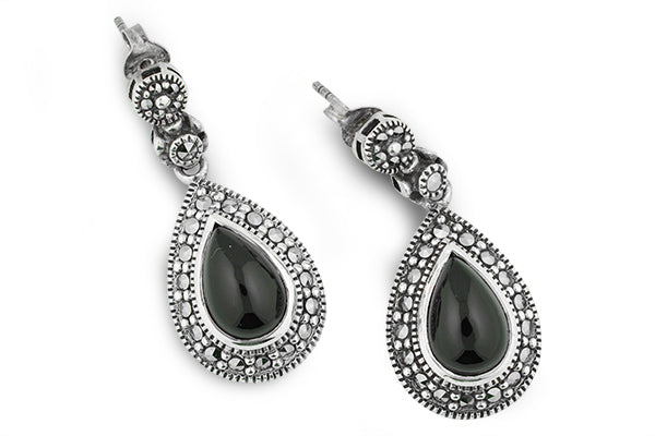 Black Onyx Marcasite Dangling Teardrop Earrings