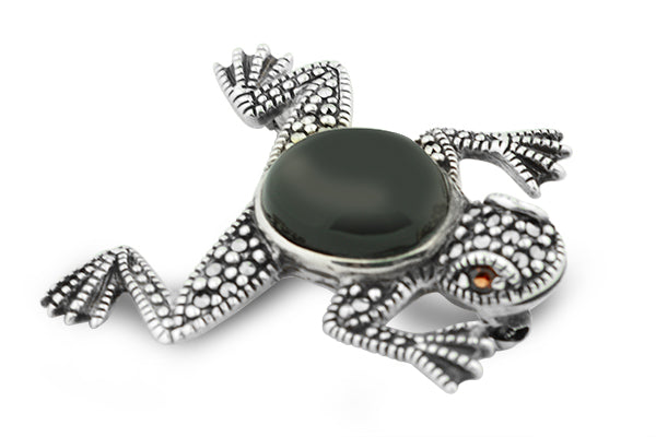 STERLING SILVER BLACK ONYX MARCASITE FROG BROACH WITH GARNET EYES