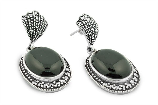 STERLING SILVER, BLACK ONYX AND MARCASITE EARRING