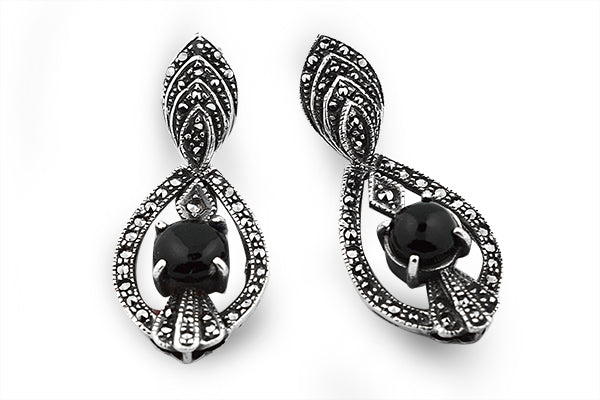 STERLING SILVER INDIAN STYLE ONYX AND MARCASITE EARRING