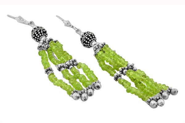 STERLING SILVER TRIBAL PERIDOT EARRINGS