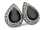 Opulent Black Onyx Pair Shaped Marcasite Earrings