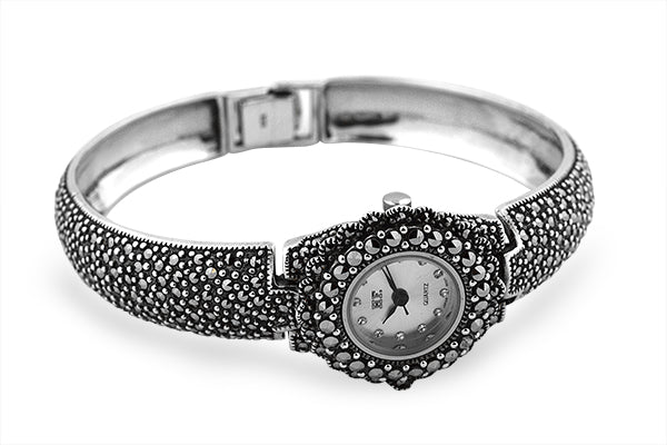 Sterling Silver Marcasite Bangle Watch