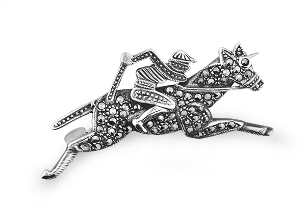 STERLING SILVER MARCASITE POLO BROACH