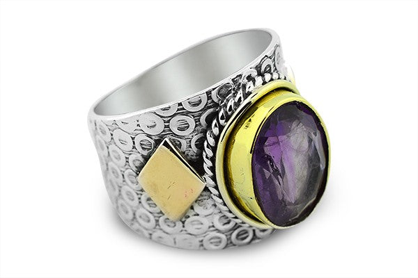 HAMMERED STERLING SILVER AND BRASS AMETHYST BALI RING