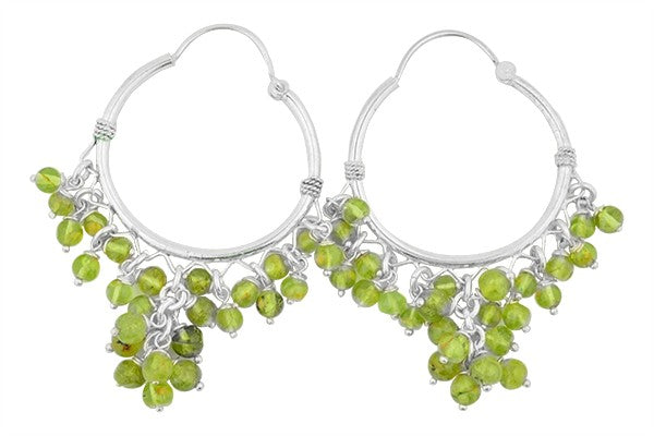 STERLING SILVER PERIDOT HOOP EARRINGS