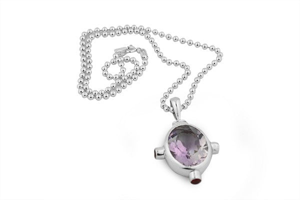 Sterling Silver 14 Carat Amethyst and Garnet Pendant Necklace