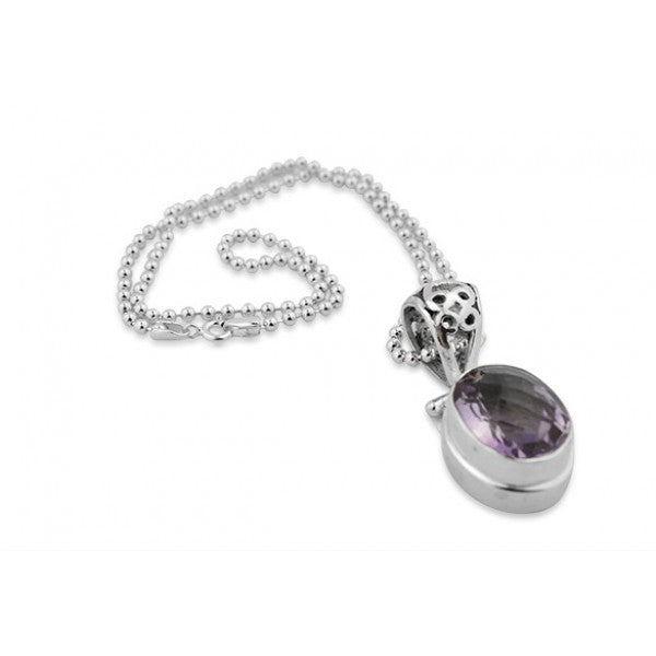 Sterling Silver 15.8 Carat Checkerboard Cut Amethyst Pendant Necklace