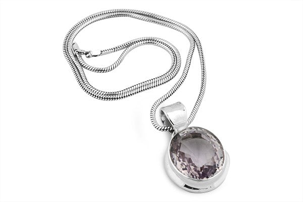 Sterling Silver 34 Carat Amethyst Pendant Necklace