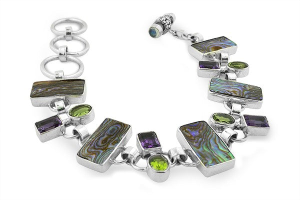 STERLING SILVER ABALONE AMETHYST AND PERIDOT LARGE BRACELET